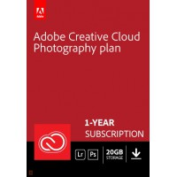 Multimedia: Adobe Photography Plan (Photoshop CC + Lightroom CC) | 1 User | 1year | 20GB cloudstorage