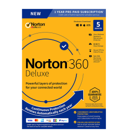 Norton 360 Deluxe | 5Dispositivi - 1Anno | Windows - Mac - Android - iOS | 50Gb archivio cloud