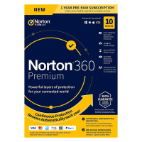 Norton 360 Premium | 10Devices - 1Year | Windows - Mac - Android - iOS |75GB Cloud Storage