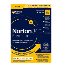 Norton 360 Premium | 10Geräte - 1 Jahr | Windows - Mac - Android - iOS |75GB Cloud-Speicher