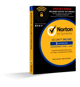 Norton Security Deluxe + WiFi Privacy 5-Devices 1year