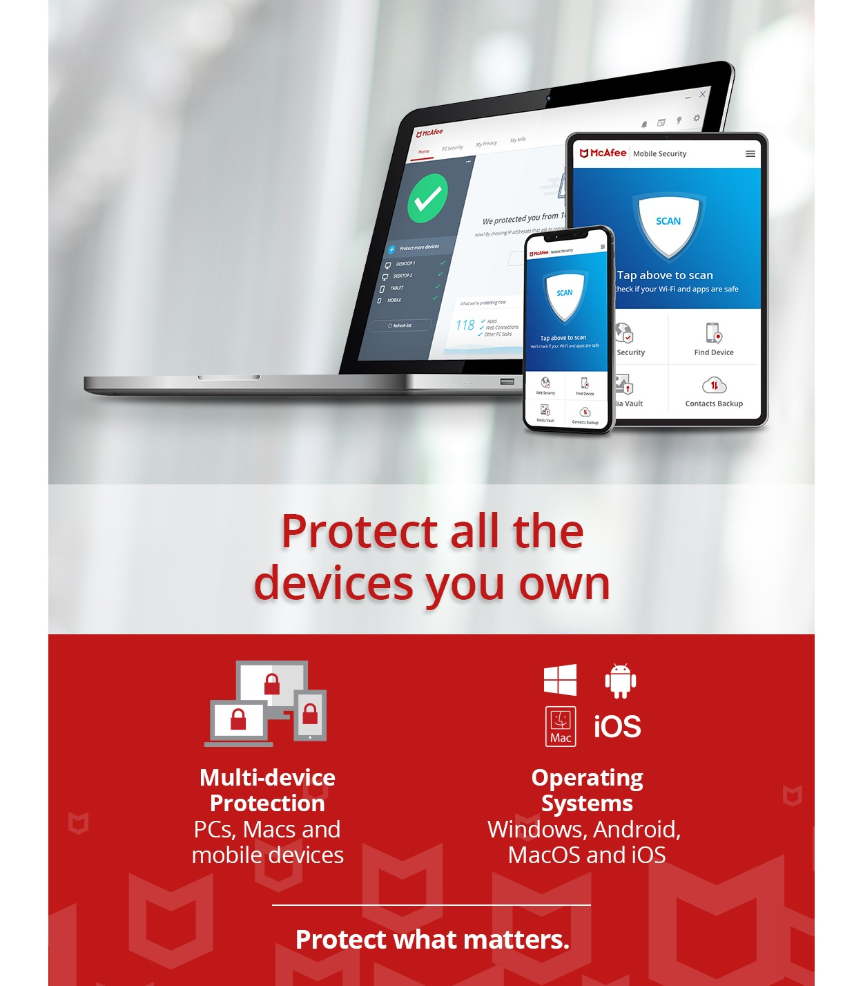 McAfee Total Protection 2021 | 3Devices - 1 Year | Windows - Mac - Android - iOS