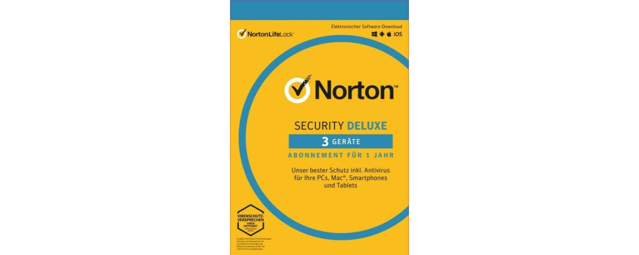Norton Security Deluxe | 3-Devices | 1-Year | 2021 - Antivirus Included - Windows | Mac | Android | iOs