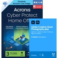 Double back-up: Acronis True Image Premium 2021 | 3Devices | 1Year & Adobe Photography Plan 20Gb cloud storage