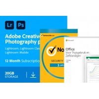 Voordeelbundel: Adobe Photography Plan | 20GB cloudopslag | Norton Security Deluxe | Office 2019 Thuisgebruik & Zelfstandigen