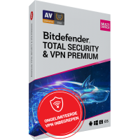 VPN + Antivirus: Bitdefender Total Security + VPN Premium | 10Apparaten - 2jaar | Windows - Mac - Android - iOS