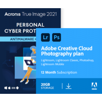 Acronis True Image Premium 2021 | 3Apparaten | 1Jaar & Adobe Photography Plan 20Gb cloudopslag