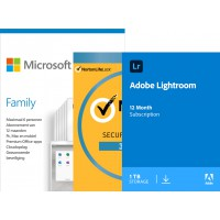 Office 365: Microsoft 365 Family | Adobe Lightroom | Norton Security | BUNDEL | 1 Year