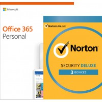 Office: Voordeelbundel: Office 365 Personal 1Gebruiker + Norton Security Deluxe 3 apparaten 1 jaar