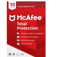 McAfee Total Protection 2021 | 10 Devices - 1 year | Windows - Mac - Android - iOS | LiveSafe Alternative