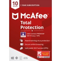 VPN + Antivirus: McAfee Total Protection 2021 + VPN |10apparaten | 1jaar