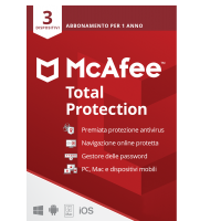 Sicurezza totale: McAfee Total Protection Multi-Device 3dispositivi 1anno 2021