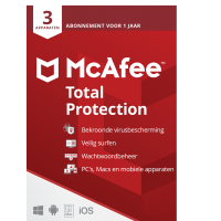 Total Security: McAfee Total Protection 2021 | 3Apparaten - 1jaar | Windows - Mac - Android - iOS
