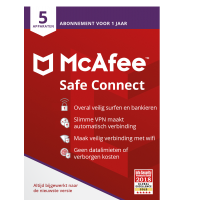 VPN: McAfee Safe Connect Premium | 5 Apparaten | 1 Jaar | Windows, Chrome OS, Android, iOS