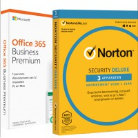 Office: Voordeelbundel: Office 365 Business Premium - jaarabonnement + Norton Security Deluxe 3 Apparaten