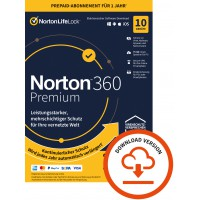 Norton 360 Premium | 2021 | 10-Geräte | 1-Jahr | 2021 | Windows | Mac | Android | iOS | 75GB Cloud-Speicher