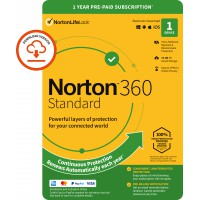 VPN + Antivirus: Norton 360 Standard | 1-Device | 1-Year | 2021 | Windows | Mac | Android | iOS | 10Gb Cloud Storage