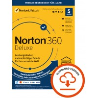 Total Security: Norton 360 Deluxe  | 5-Geräte | 1-Jahr | 2021 | Windows | Mac |Android | iOS | 50GB Cloud-Speicher