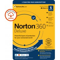 Internet Security: Norton 360 Deluxe | 5-Devices | 1-Year | 2021 | Windows | Mac | Android | iOS | 50Gb Cloud Storage