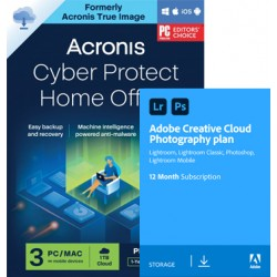Backup: Acronis Cyber Protect Home Office Premium 2022 | 3Apparaten | 1Jaar & Adobe Photography Plan 20Gb cloudopslag