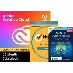 Multimedia: Voordeelbundel: Adobe Creative Cloud (all apps) Student & Teacher edition | Norton Security Deluxe | Acronis Cyber Protect Home Office Advanced