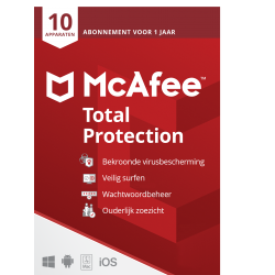 Total Security: McAfee Total Protection | 10 Apparaten - 1jaar | Windows - Mac - Android - iOS