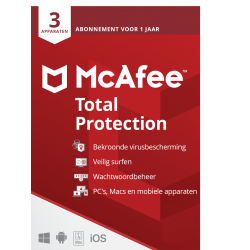 Total Security: McAfee Total Protection | 3Apparaten - 1jaar | Windows - Mac - Android - iOS