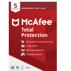 Total Security: McAfee Total Protection | 5Apparaten - 1jaar | Windows - Mac - Android - iOS