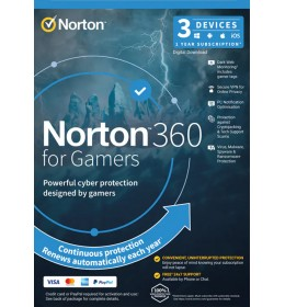 Norton 360 for gamers | 3-Devices | 1-Year | 2021 | Windows | Mac | Android | iOS | 50Gb Cloud Storage