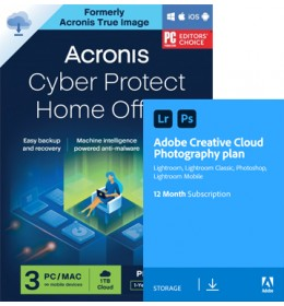 Acronis Cyber Protect Home Office Premium 2022   3Apparaten   1Jaar & Adobe Photography Plan 20Gb cloudopslag