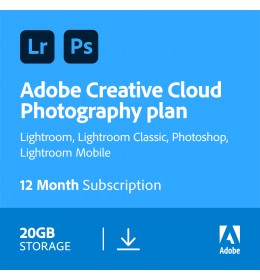 Adobe Photography Plan (Photoshop CC + Lightroom CC) | 1 Gebruiker | 1Jaar | 20GB cloudopslag