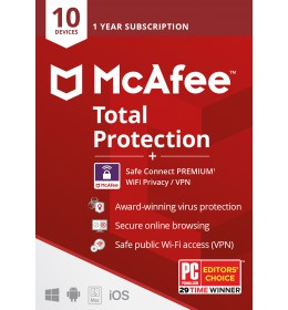 McAfee Total Protection 2021 + VPN | 10Devices | 1year
