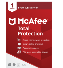McAfee Total Protection 2021 | 1Device - 1 Year | Windows - Mac - Android - iOS