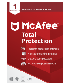 McAfee Total Protection 2021 | 1Dispositivo - 1 anno | Windows - Mac - Android - iOS