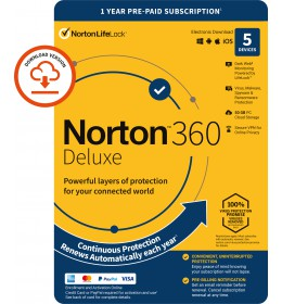 Norton 360 Deluxe | 5-Devices | 1-Year | 2021 | Windows | Mac | Android | iOS | 50Gb Cloud Storage