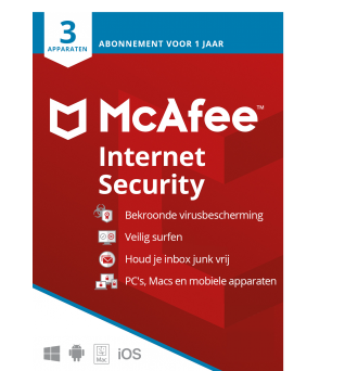 Internet Security Software: McAfee Internet Security | 3 Devices - 1 year | Windows - Mac - Android - iOS