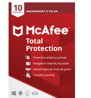 McAfee Total Protection 2021 | 10Appareils - 1 an | Windows - Mac - Android - iOS