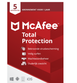 Total Protection Software: McAfee Total Protection | 5 Devices - 1 year | Windows - Mac - Android - iOS