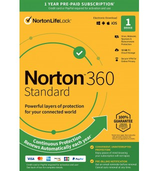 Total Protection Software: Norton 360 Standard | 1Device - 1Year | Windows - Mac - Android - iOS | 10Gb Cloud Storage