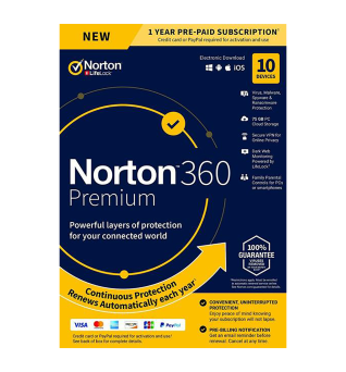 Total Protection Software: Norton 360 Premium | 10Devices - 1Year | Windows - Mac - Android - iOS |75GB Cloud Storage