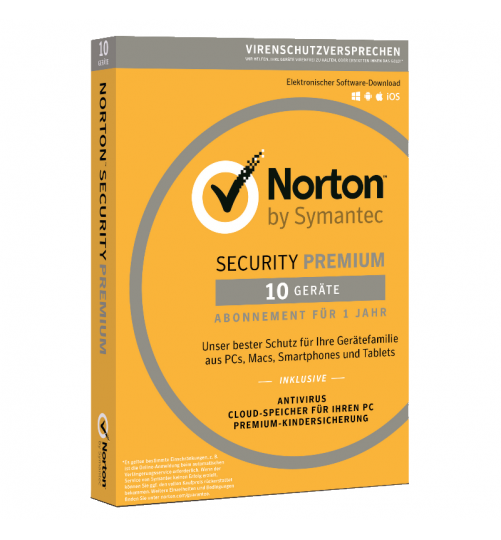 Norton Security Premium | 10-Geräte + 25GB Backup | 1-Jahr