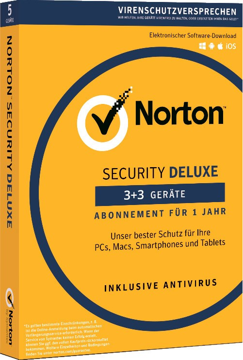 Norton Security Deluxe | 6-Geräte | 1-Jahr | 2021 - Virenschutz inklusive - Windows | Mac | Android | iOS