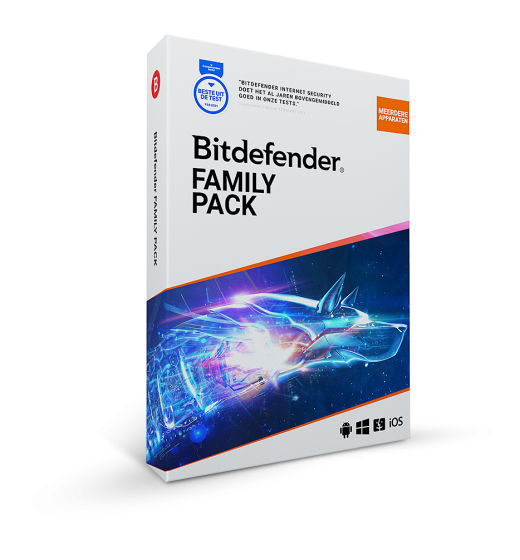Securitysoftware: Bitdefender Family Pack | 15 Devices | 1 year | Windows, Mac, Android, iOS