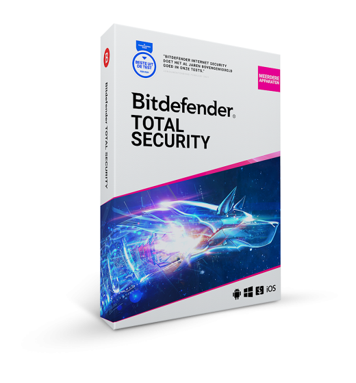 Securitysoftware: Bitdefender Total Security | 10Devices - 1 year | Windows - Mac - Android - iOS