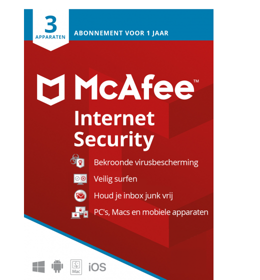 Securitysoftware: McAfee Internet Security | 3 Devices - 1 year | Windows - Mac - Android - iOS