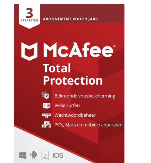 Securitysoftware: McAfee Total Protection | 3 devices - 1 year | Windows - Mac - Android - iOS