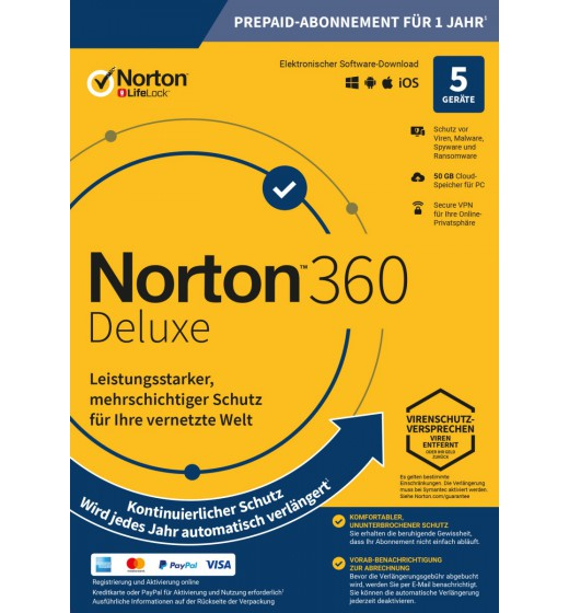 Norton 360 Deluxe | 5 Geräte - 1 Jahr | Windows - Mac - Android - iOS | 50Gb Cloud-Speicher