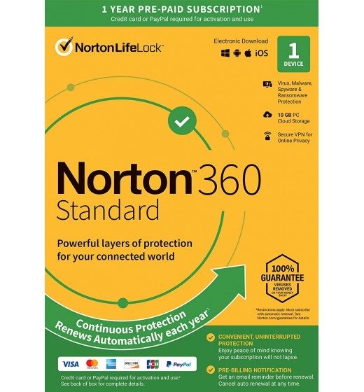 Antivirus Software: Norton 360 Standard | 1Device - 1Year | Windows - Mac - Android - iOS | 10Gb Cloud Storage