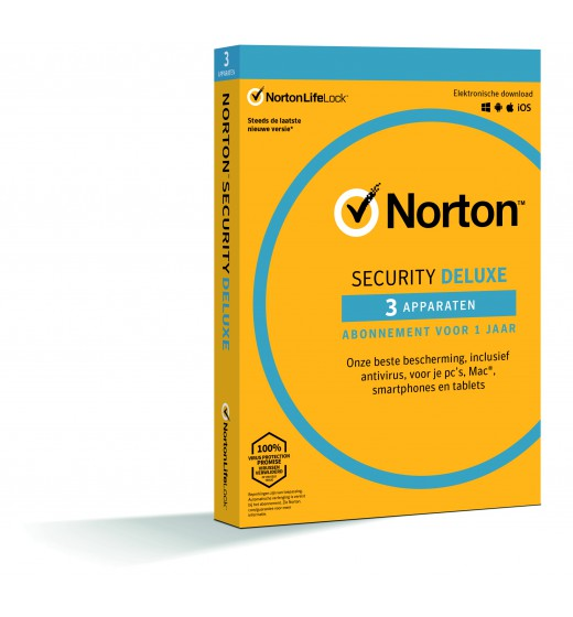 Securitysoftware: Norton Security Deluxe 3 Devices 1 Year - Antivirus included - Windows | Mac | Android | iOS