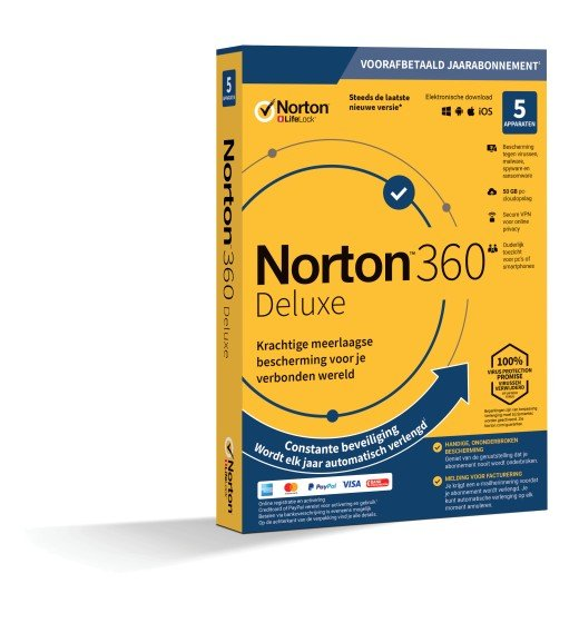 Securitysoftware: Norton 360 Deluxe | 5Devices - 1Year | Windows - Mac - Android - iOS | 50Gb Cloud Storage